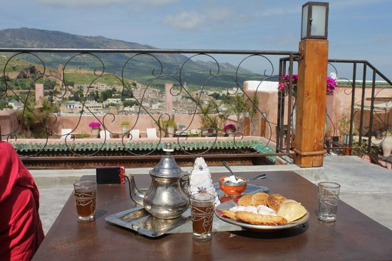 Riad Laaroussa Hotel and Spa: View from the rooftop terrace.