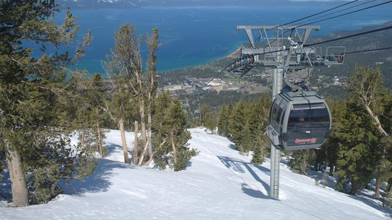 Harrah's Lake Tahoe: View from Heavenly Gondola observation deck, hotel in centre of photo