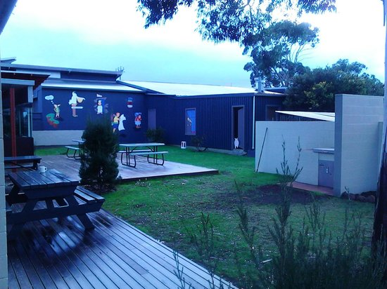 Swansea Backpackers: Outdoors and BBQ area