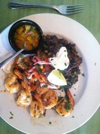 Sabor Latin Bar & Grill: Chipotle Honey Glazed Shrimp with black bean frito