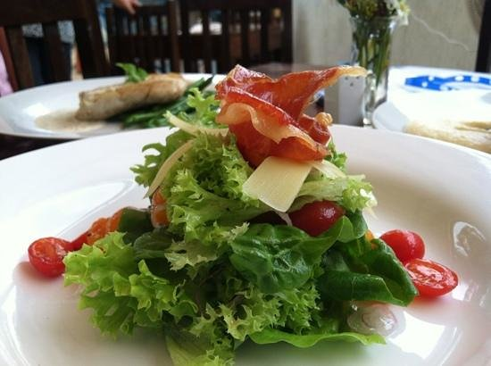 Soma Restaurante : local lettuce, organic grape tomatoes, fresh Parmesan, crispy Serrano ham, & garlic vinaigrette