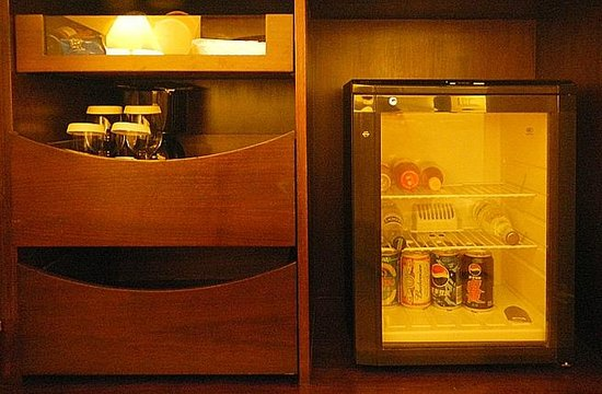 Renaissance Shanghai Yangtze Hotel: kettle, cups, tea/coffee bags and fridge