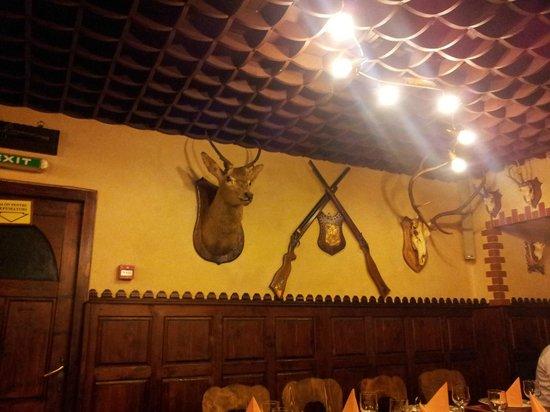 Predeal, Romania: Stuffed animals plus shotgun on the wall