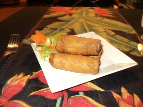 The Oriental Restaurant: Spring rolls from another angle-carrot tulip!