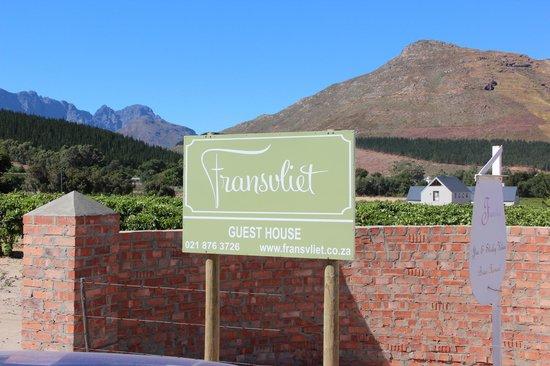 Fransvliet Guest House : Einfahrt