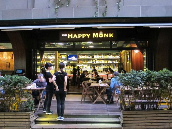 The Happy Monk : as you enter from the street