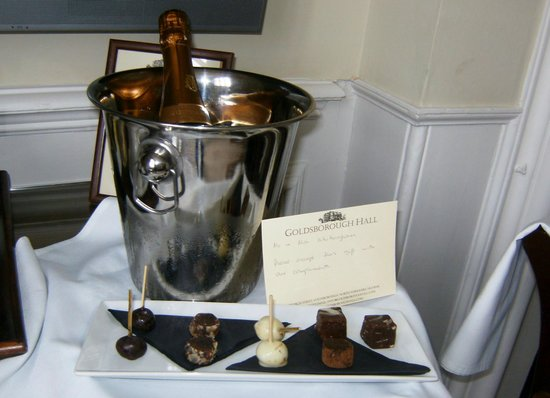 Goldsborough Hall: champagne and home made chocolates
