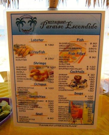 El Paraiso Escondido: The menu