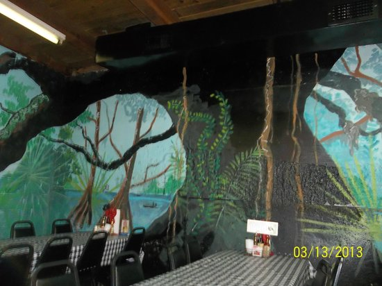 One of the hand painted murals inside Gator Cove