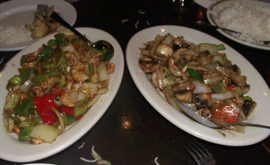 Green Basil: Stir fried pork with fresh mushroom,  onions, & chopped ginger - Stir-fried prawns with seasonal