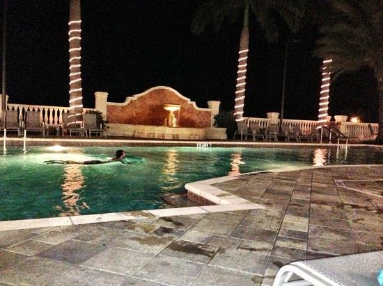 The Westin Cape Coral Resort At Marina Village: resort pool at night.