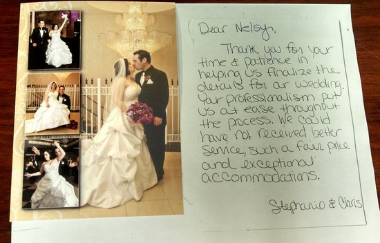 The Wilshire Grand Hotel: Thank you card from Bride & Groom
