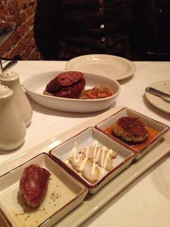 Pirogue Grille: walleye three ways and venison sausage