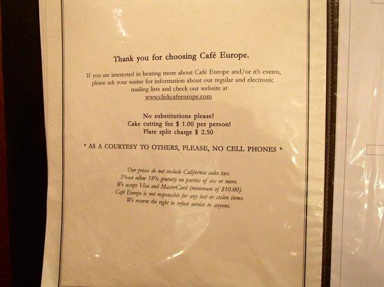Cafe Europe: Menu