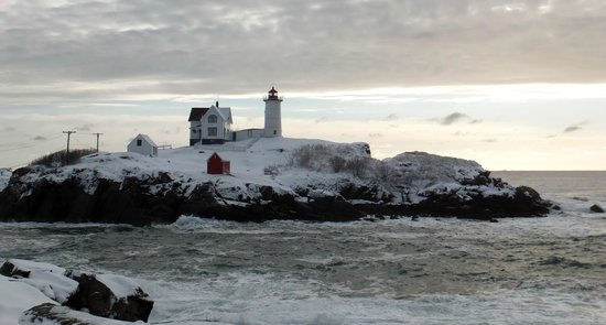 Cape Neddick Nubble Lighthouse: Day after snow storm February, 2013.