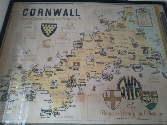 The Ship Inn: Cornwall map from nearby SVR Highley station waiting room