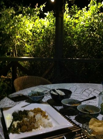 Feathers Home Stay: Dinner next to a romanticly lit rose bush and relaxing views insane yummy food.