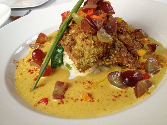 Beacon Room: Pistachio crusted Sole in curry sauce with grapes