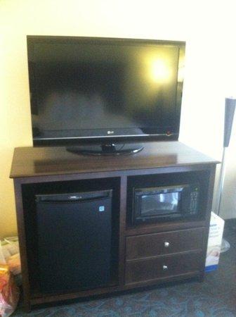 Hampton Inn Evansville : Flat Panel TV with mini fridge and microwave