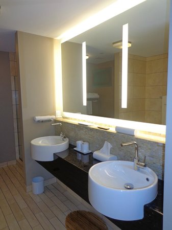 Hotel Ignacio: Dual sinks with nice lighting and a tv inside the mirror!