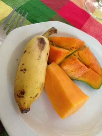 Chez Plume : The breakfast selection with an ant near the banana!