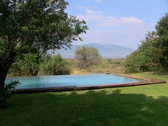White Elephant Safari Lodge: espace piscine avec vue sur le dam