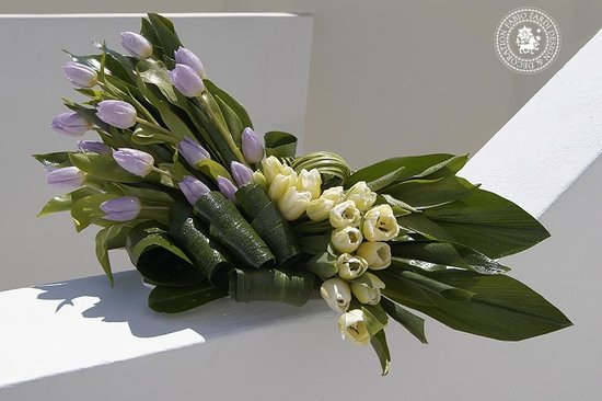 Vamos, Greece: Thing of beauty - Luxury centerpiece with lilac and white tuplips and greeneries