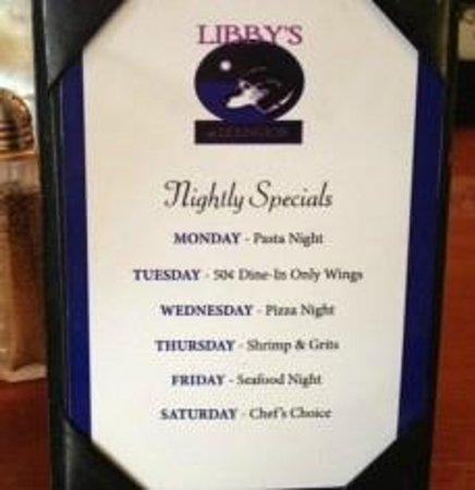 Libby's of Lexington: Daily Specials