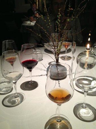 Geranium: empty glasses after wine/juice menu