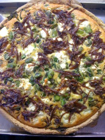 Taylor's Cafe: broad bean, caramelised onion, feta and spinach savoury tart