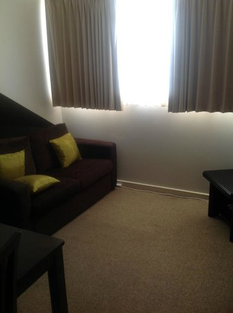 Quest Williamstown: very compact lounge , couch was under window, I moved the couch so I  could relax & watch TV