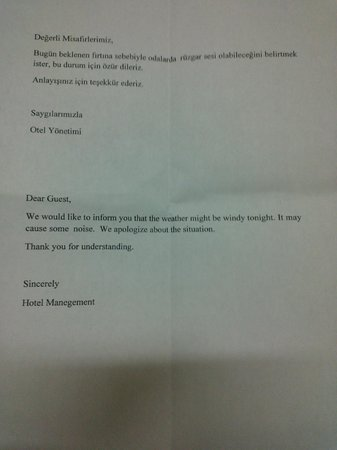 DoubleTree by Hilton Istanbul Avcilar: Management letter about weather