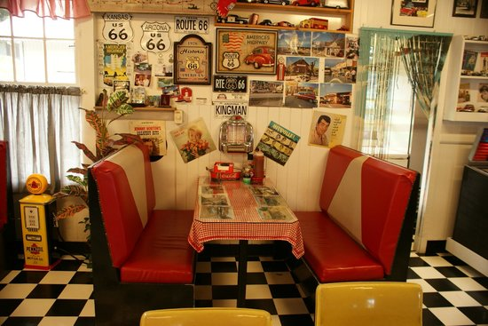 50's Highway Fountain Diner: Classic Happy Days interior look.
