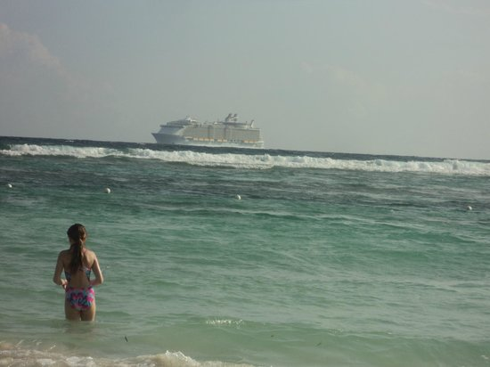 Cruise Shore Excursions Jamaica: Red Stripe Beach - The Allure of the Seas cruise ship coming into port