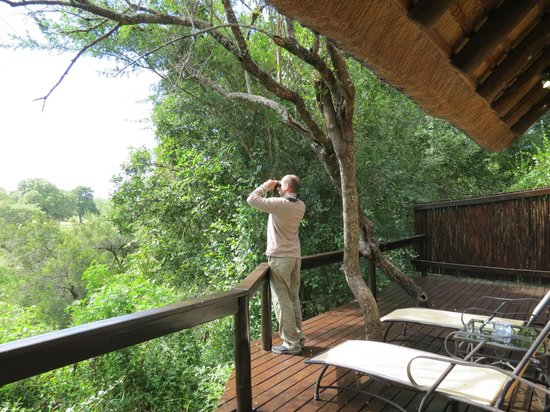 Elephant Plains Game Lodge: Our balcony; Luxury Suite, Rhino Room