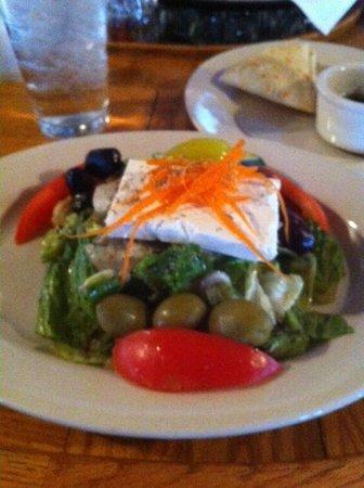 Jake & Telly's Greek Cuisine: Small Greek Salad - look at the slab of Feta cheese.  Yummy.