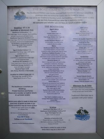 The Boat House: Menu