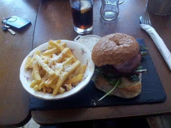 The Gower Kitchen  burger and truffle fries. Pork belly with black pudding and bacon  with truffle mash and