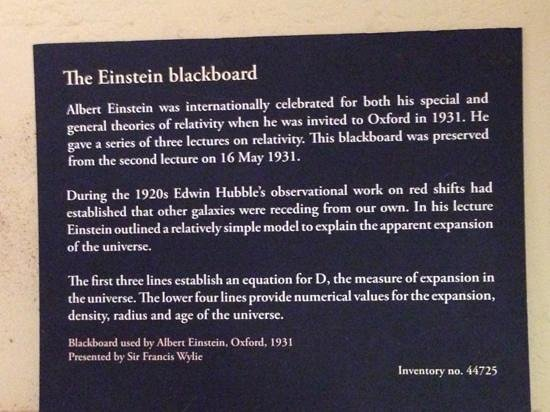 Museum of the History of Science: The Einstein Blackboard