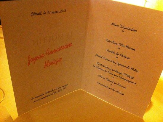 Domaine Le Moulin Hotel: Repas d'anniversaire