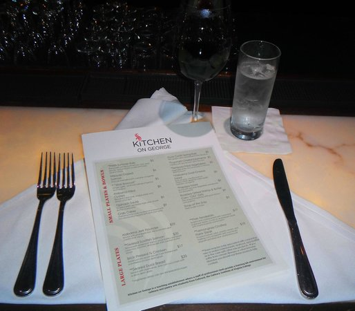 Fabulous menu of delicious locally-sourced foods at Kitchen on George.