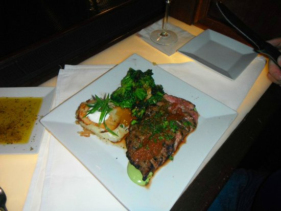 Kitchen On George: The Capt enjoyed his Lemongrass Crusted Flank Steak with Sour Cream Au Gratin Potatoes..