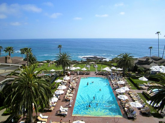 Montage Laguna Beach: View of the pool and beach area from a balcony