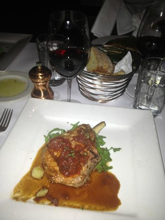 Frascati: Pork chop, red wine, what could be better?