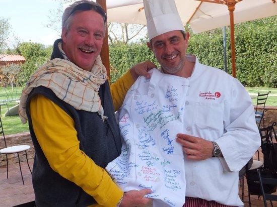 Locanda Rovicciano: Chef Andrea  signs our Chef Coat in honor of our friend  Chef Joe Quigley