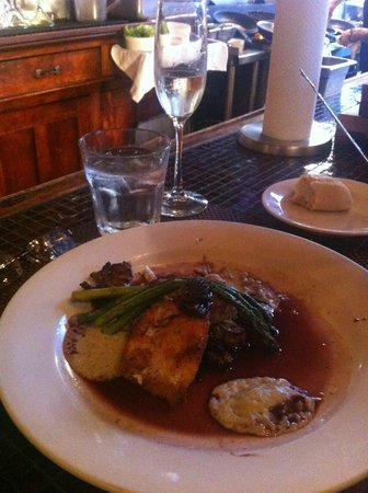 Crazy Water : Asparagus topping the halibut