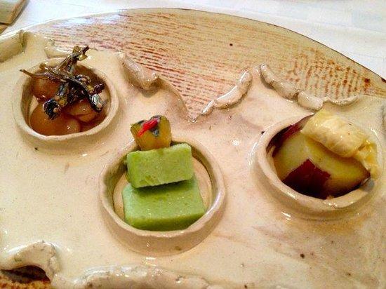 Yamazushi Japanese Cuisine: sweet beans and sardines, edamame tofu, slow-cooked satsuma potato