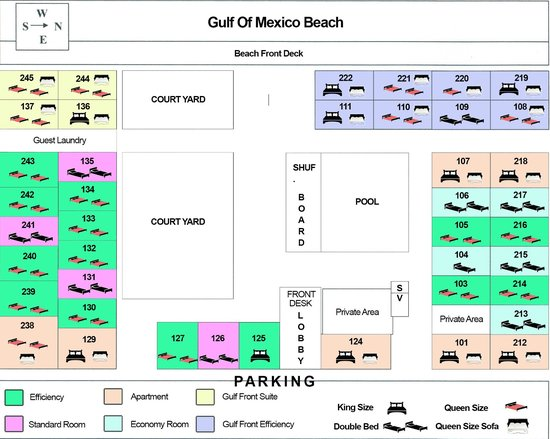 Belleair Beach Resort: Motel Layout