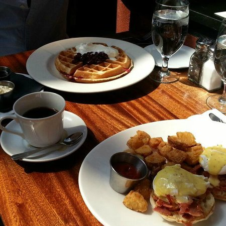 Columbia Firehouse: Eggs Benedict with Virginia Ham and Country Potatoes & Waffles with Cherry Compote and Cream