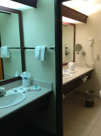 Best Western Plus Mill Creek Inn : Vanity outside of bathroom was great.  Lighted make-up mirror inside bathroom nice touch.